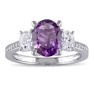 Miadora Signature Collection 14k White Gold Amethyst and 5/8ct TDW Oval and Round Diamond Engagement Ring (G-H, I1-I2)
