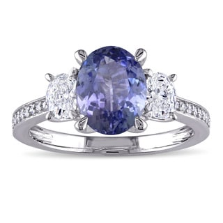 Miadora Signature Collection 14k White Gold Tanzanite and 5/8ct TDW Oval and Round Diamond Engagement Ring (G-H, I1-I2)