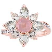 Laura Ashley Green Amethyst Rose Quartz and 1/10ct TDW Diamond Flower Ring in Rose Plated Sterling S