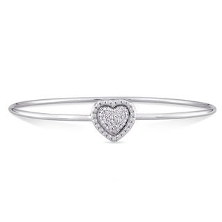 Miadora Sterling Silver 1/7ct TDW Diamond Stationed Heart Cluster Bangle (G-H, I1-I2)