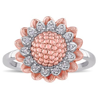 Laura Ashley 1/10ct TDW Diamond Sunflower Ring in Two-Tone White and Rose Plated Sterling Silver