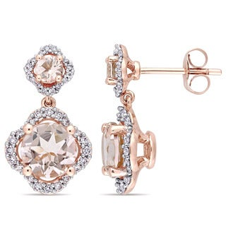 Miadora Signature Collection 14k Rose Gold Morganite and 2/5ct TDW Diamond Quatrefoil Halo Dangle Earrings (G-H, I1) - Pink
