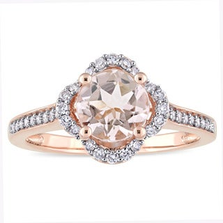 Miadora Signature Collection 14k Rose Gold Morganite and 1/4ct TDW Diamond Quatrefoil Halo Engagement Ring (G-H, I1-I2)