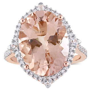 Miadora Signature Collection 14k Rose Gold Morganite White Sapphire and 3/8ct TDW Diamond Halo Cocktail Ring (G-H,SI1-SI2)