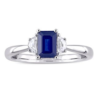 Miadora Signature Collection 14k White Gold Blue and White Sapphire Three-Stone Engagement Ring