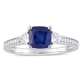 Miadora Signature Collection 14k White Gold Blue Sapphire White Sapphire and 1/10ct TDW Diamond Engagement Ring (G-H, I1-I2)