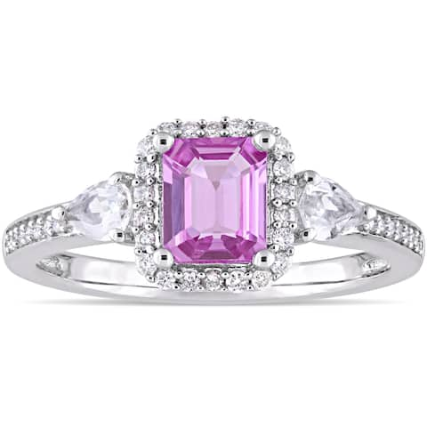 Miadora Signature Collection 14k White Gold Pink and White Sapphire with 1/6ct TDW Diamond Halo Enga