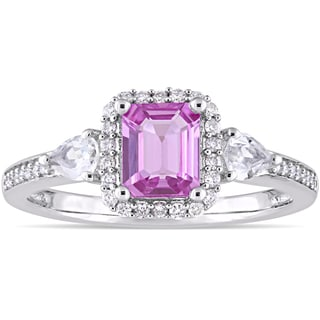 Miadora Signature Collection 14k White Gold Pink and White Sapphire with 1/6ct TDW Diamond Halo Engagement Ring (G-H, I1-I2)