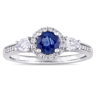 Miadora Signature Collection 14k White Gold Blue and White Sapphire with 1/8ct TDW Diamond Halo Engagement Ring (G-H, I1)