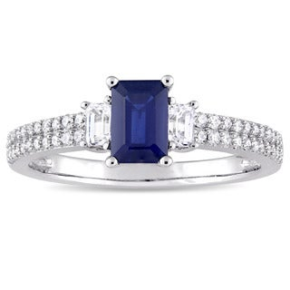 Miadora Signature Collection 14k White Gold Blue Sapphire White Sapphire and 1/6ct TDW Diamond Engagement Ring