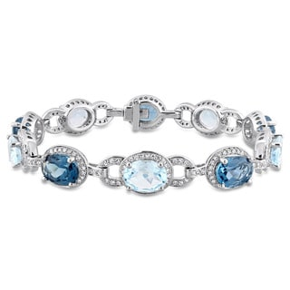 Miadora Signature Collection 14k White Gold Sky and London Blue Topaz with 1 5/8ct TDW Diamond Tennis Bracelet (G-H, SI1-SI2)