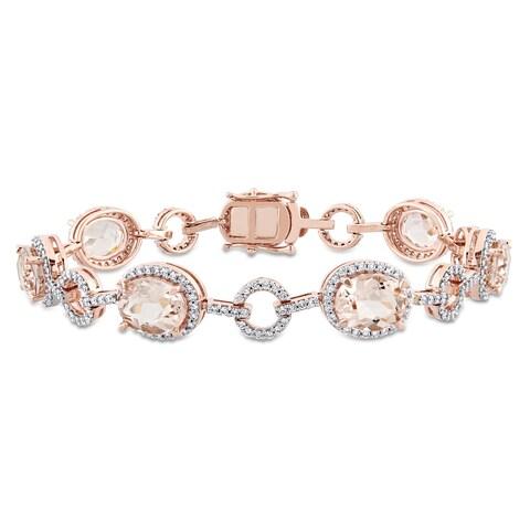 Miadora Signature Collection 14k Rose Gold Morganite and 1 1/2ct TDW Diamond Beaded Tennis Bracelet (G-H, SI1-SI2)