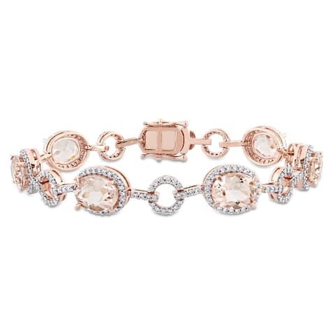 Miadora Signature Collection 14k Rose Gold Morganite and 1 1/2ct TDW Diamond Beaded Tennis Bracelet (G-H, SI1-SI2)