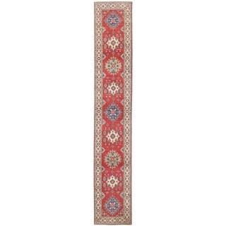 Herat Oriental Afghan Hand-knotted Vegetable Dye Tribal Kazak Wool Runner (2'7 x 15'4)