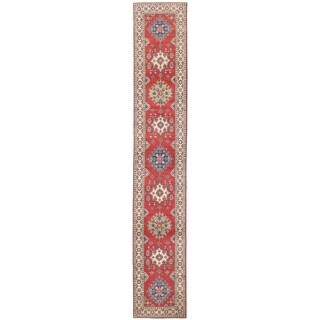 Herat Oriental Afghan Hand-knotted Vegetable Dye Tribal Kazak Wool Runner (2'7 x 15'4) - 2'7 x 15'4
