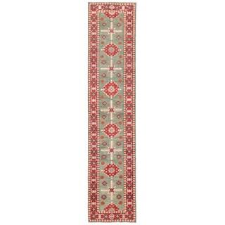 Herat Oriental Afghan Hand-knotted Vegetable Dye Tribal Kazak Wool Runner (2'7 x 12'7)