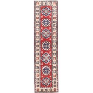 Herat Oriental Afghan Hand-knotted Vegetable Dye Tribal Kazak Wool Runner (1'11 x 7'7)