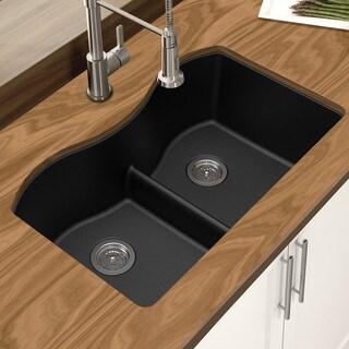 Winpro Black Granite Quartz 33 x 22 x 10-inch Double Equal Bowl Undermount Sink with Aqua Divide