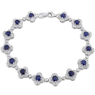 Miadora Signature Collection 14k White Gold Sapphire and 1ct TDW Diamond Beaded Tennis Bracelet (G-H, SI1-SI2)