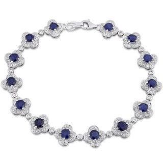 Miadora Signature Collection 14k White Gold Sapphire and 1ct TDW Diamond Beaded Tennis Bracelet (G-H, SI1-SI2)
