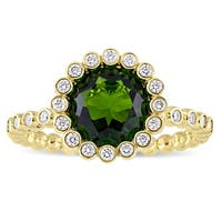 Miadora Signature Collection 14k Yellow Gold Chrome Diopside and 1/4ct TDW Diamond Engagement Ring (