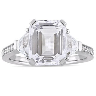 Miadora Sterling Silver White Topaz and Diamond Accent Vintage-Inspired Engagement Ring (G-H, I2-I3)