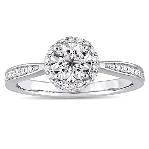 Miadora Sterling Silver 1/3ct TDW Diamond Halo Engagement Ring