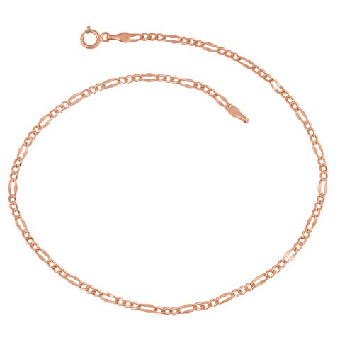 Fremada 14k Rose Gold 2-mm Figaro Link Chain Anklet (10 inches)