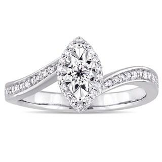 Miadora Sterling Silver 1 4ct TDW Diamond Bypass Style Engagement Ring