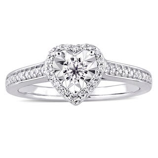 Miadora Signature Collection Sterling Silver 1/3ct TDW Diamond Heart Halo Engagement Ring