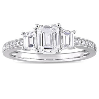 Miadora Signature Collection 14k White Gold 1 1/3ct TDW Emerald and Trapezoid-Cut Diamond Engagement