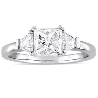 Miadora Signature Collection 14k White Gold 1 3/4ct TDW Princess and Trapezoid Diamond Engagement Ring (G-H, SI2)