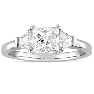 Miadora Signature Collection 14k White Gold 1 3/4ct TDW Princess and Trapezoid Diamond Engagement Ri