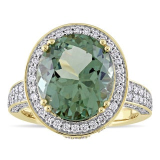 Miadora Signature Collection 14k Yellow Gold Natural Apetite and 1ct TDW Diamond Halo Engagement Ring (G-H, SI1-SI2)