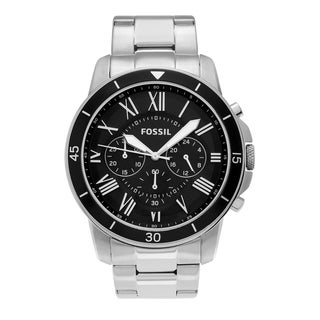 Fossil Men's FS5236 'Grant' Stainless Steel Black Chronograph Roman Numeral Dial Link Bracelet Watch