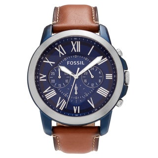 Fossil Men's 'Grant' FS5151 Two Tone Stainless Steel Blue Chronograph Dial Leather Strap Watch