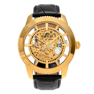 Invicta Men's 22571 'Vintage' Gold Tone Stainless Steel Transparent Skeleton Dial Black Leather Strap Watch
