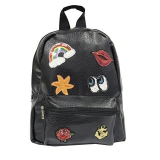 Alfa Pop Art Black Synthetic Leather Fashion Backpack