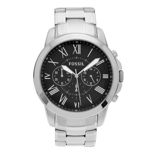 Fossil Men's FS4736 'Grant' Stainless Steel Roman Numeral Chronograph Dial Link Bracelet Watch