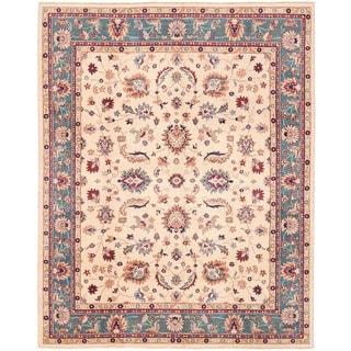 Herat Oriental Afghan Hand-knotted Vegetable Dye Oushak Wool Rug (7'11 x 9'10)