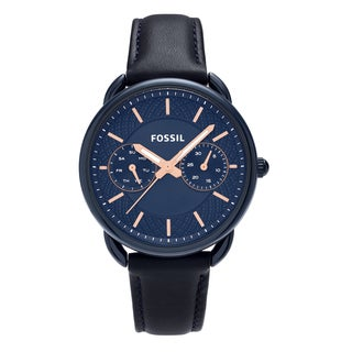 Fossil Women's ES4092 'Tailor' Blue-tone Stainless Steel Multifunction Dial Leather Strap Watch