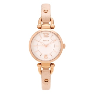 Fossil Women's 'Georgia' ES3745 Rose Goldtone Stainless Steel White Dial Thin Leather Strap Watch