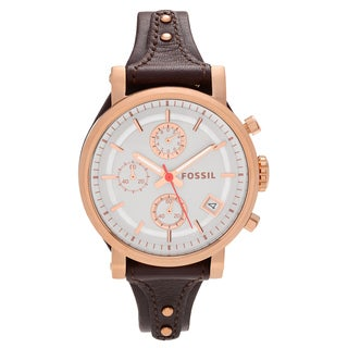 Fossil Women's ES3616 'Original Boyfriend' Rose Goldtone Stainless Steel Chronograph Dial Leather Strap Watch