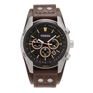 Fossil Men's CH2891 'Coachman' Stainless Steel Black Tachymeter Chronograph Dial Brown Leather Strap Watch