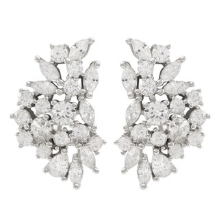 Luxiro Sterling Silver Cubic Zirconia Cluster Clip-on Earrings - White