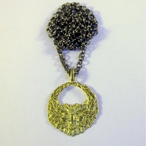 Handmade Green Man Necklace in Yellow Brass by Spirit Tribal Fusion (Indonesia) - Gold/ Yellow