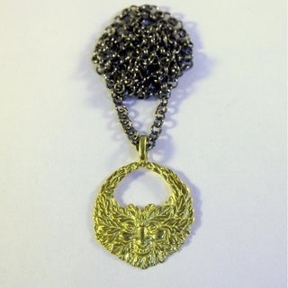 Green Man Necklace in Yellow Brass by Spirit Tribal Fusion