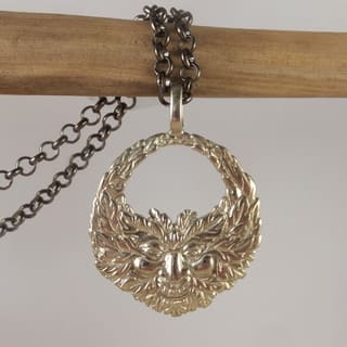 Green Man Necklace in White Brass by Spirit Tribal Fusion|https://ak1.ostkcdn.com/images/products/14651129/P21188950.jpg?impolicy=medium