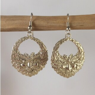 Handmade Green Man earrings in White Brass by Spirit Tribal Fusion (Indonesia) - Silver