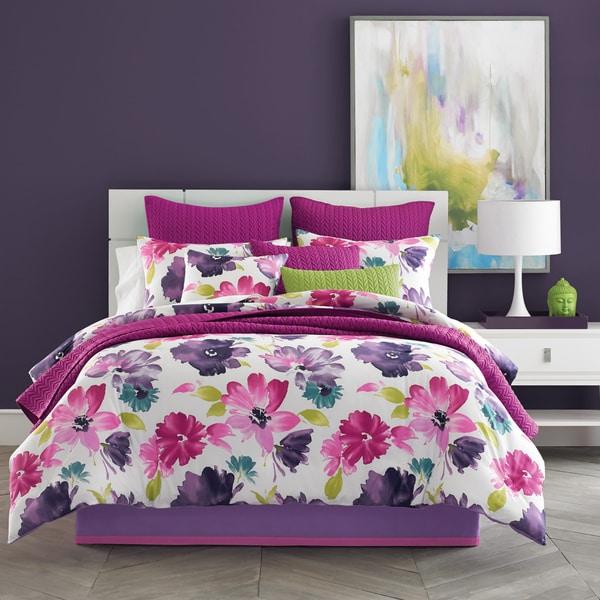 Five Queens Court Mia Fuchsia Pink Floral Cotton 4-Piece Comforter Set